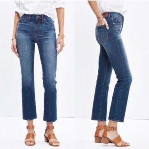 "Madewell 10"" High Riser Demi Boot Jeans Raw Hem 26"
